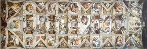 Michelangelo placed nine Central stories illustrating episodes of the Genesis. Ceiling. Sistine Chapel.