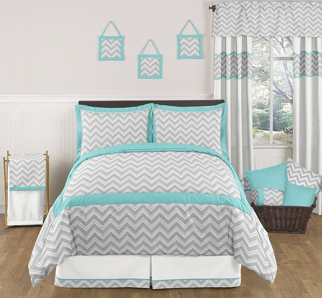 Zig Zag Turquoise and Gray Chevron Bedding Set from Sweet Jojo Designs - http://www.childrensbeddingboutique.com/zig-zag-turquoise-and-gray-bedding-set.aspx
