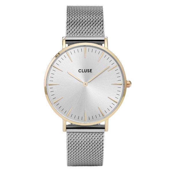 Cluse Silver & Gold La Boheme Mesh Watch: This stunning La Bohème model features an ultrathin case with a 38 mm diameter. Gold is combined with a modern sunray dial and silver stainless steel mesh strap.The straps on all the Cluse watches can be can be easily interchanged if you want to change your watch up.