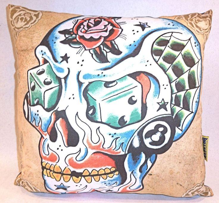 Toxico Tattoo Skull Cushion