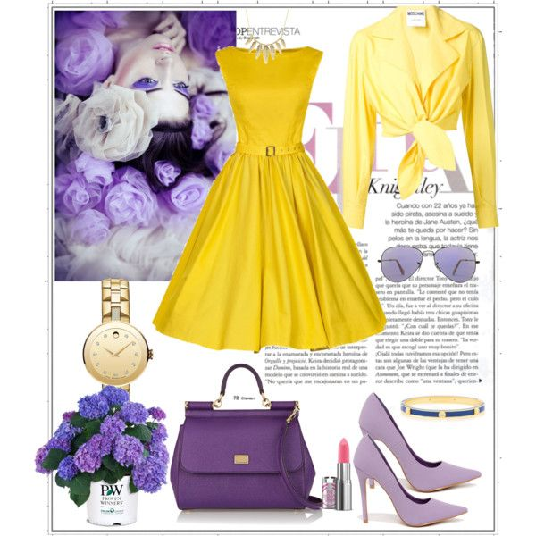 Women's lilac flower by milkalilien on Polyvore featuring Moschino, Dolce&Gabbana, Movado, Henri Bendel, Charlotte Russe and Ray-Ban