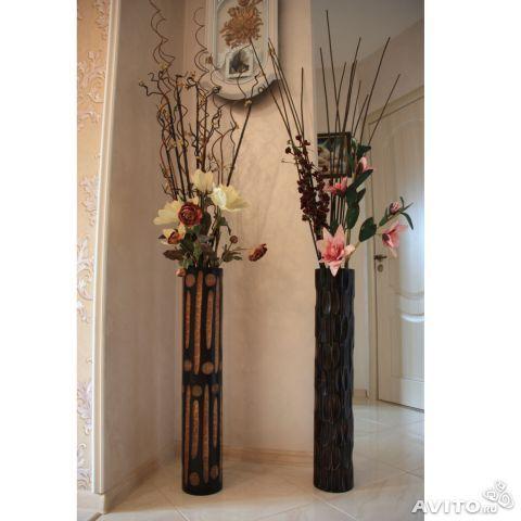 Напольная деревянная ваза