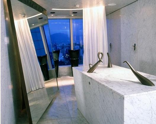 Bathroom of the bar Felix in HK. Philippe Starck.