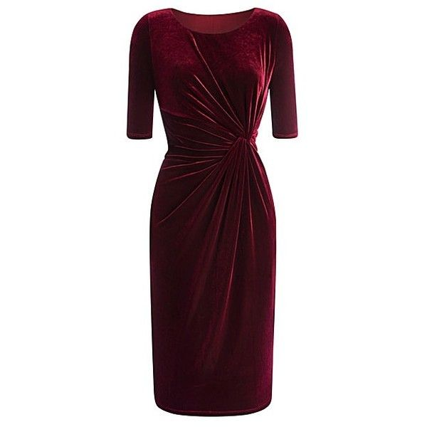 Velour Twist-Front Dress (410 DKK) ❤ liked on Polyvore featuring dresses, velour dress, twist front dress e purple dress