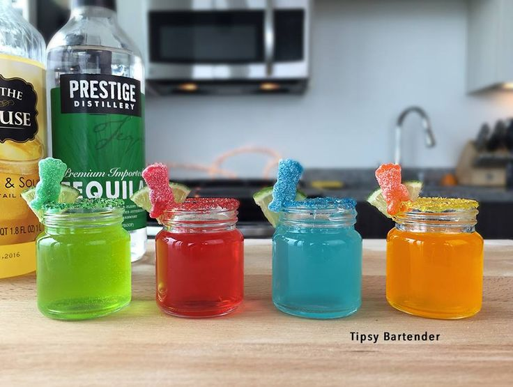 Sour Patch Shots - For more delicious recipes and drinks, visit us here: www.tipsybartender.com