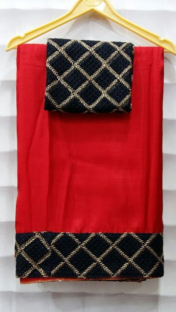Pure crape net saree with designer net border with designer blouses   Elegant Fashion Wear