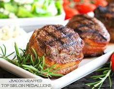 Bacon Wrapped Top Sirloin Medallions - Grilling is a year-round activity at our house. While I enjoy grilling most anything, grilling bacon wrapped steak is a bonefide treat.