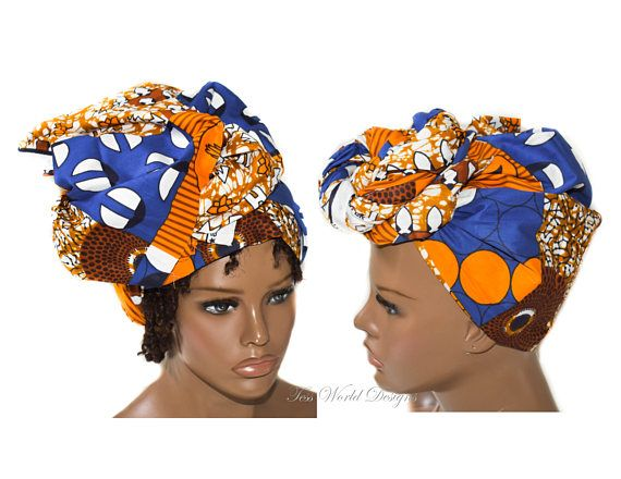 Head wrap faux Patchwork fabric / African Hair Wraps/