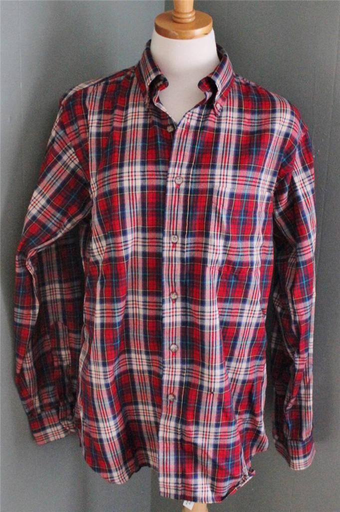 Vtg 80s pendleton wool flannel shirt men m punk grunge for Mens wool flannel shirt