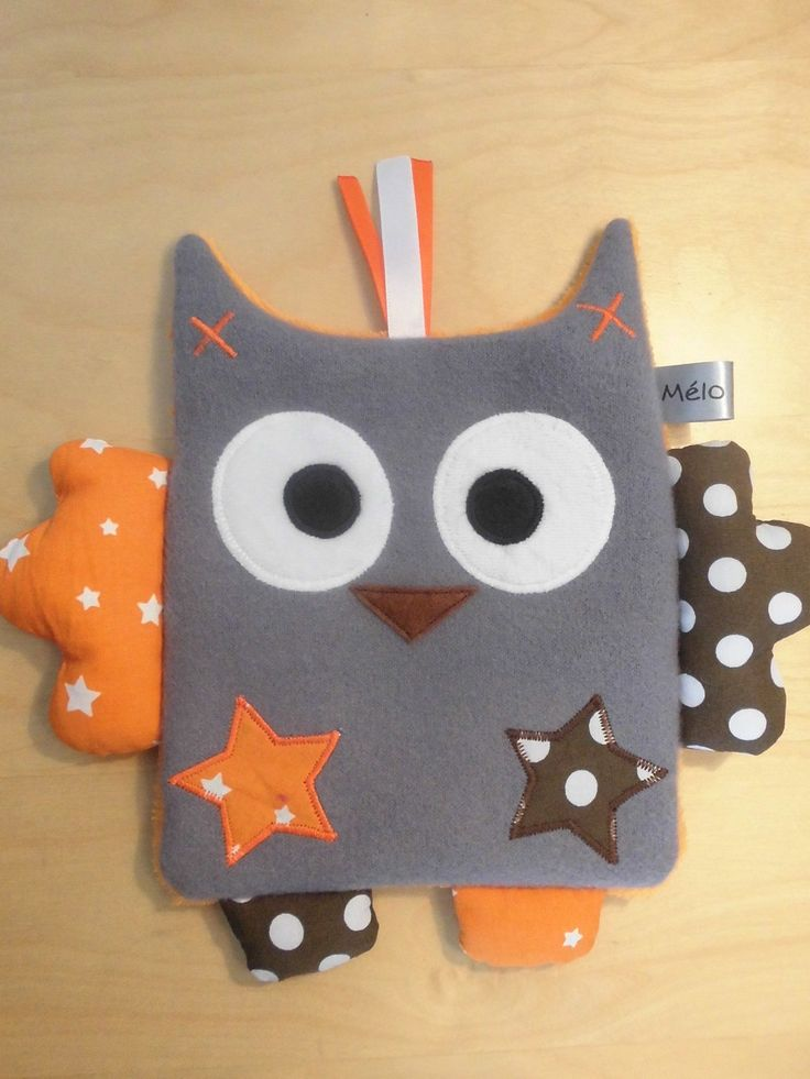 Doudou plat hibou gris orange marron