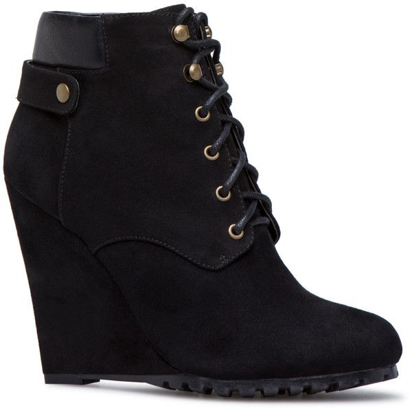 ShoeDazzle Wedge Belinda Bootie Womens Black ❤ liked on Polyvore featuring shoes, boots, ankle booties, black, wedges, wedge bootie, black booties, wedge booties, ankle boots and wedge heel boots