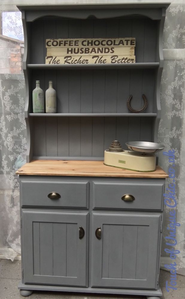 Grey Welsh dresser vintage shabby chic solid Pine ⭐️ DELIVERY AVAILABLE ⭐ | eBay