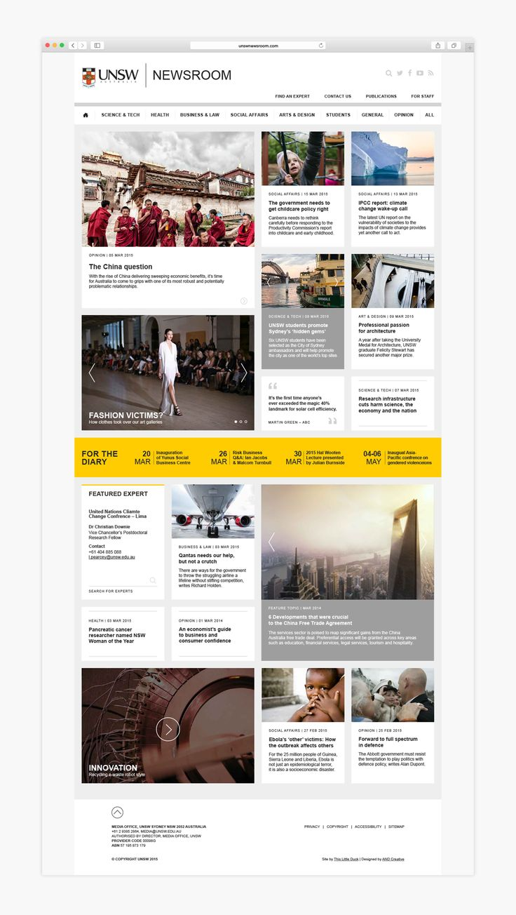 Made Somewhere- UNSW Newsroom Website Home Page