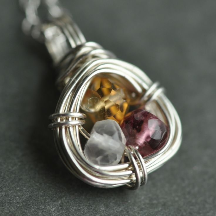 Family Nest birthstone necklace made with genuine gemstones - from muyinjewelry.com