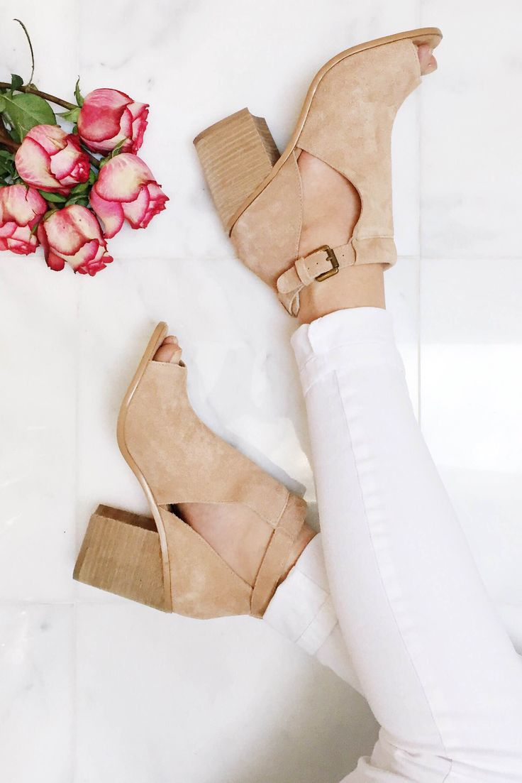 Suede peep toe booties with cool cutouts. So perfect for spring!