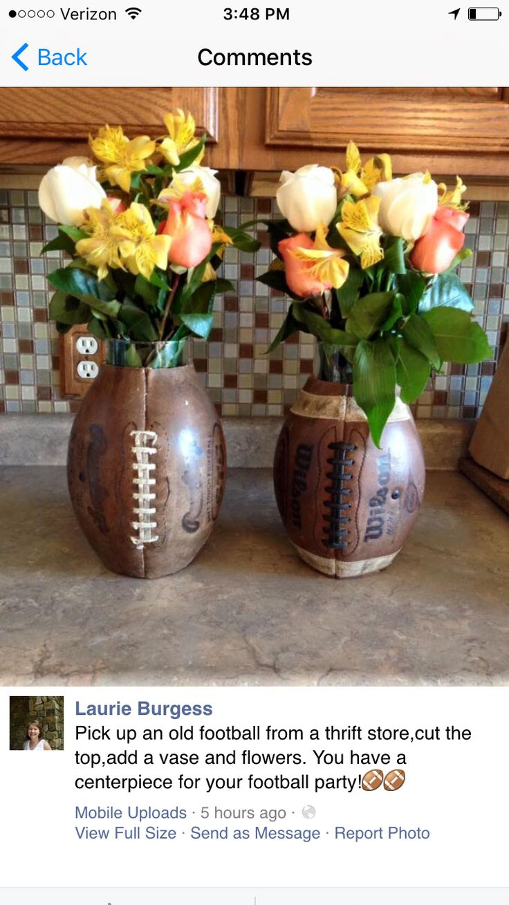 Football Centerpiece. I am going to do this but instead of roses, make it more around my team colors                                                                                                                                                                                 More