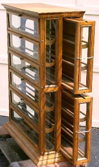 6 Section Tall Oak Ribbon Cabinet with Pull-out Side Sections, BRASS LANTERN ANTIQUES