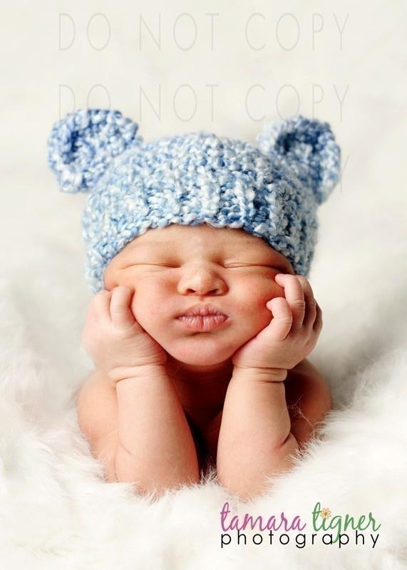 Cocoon de bebé de punto azul y sombrero del oso Set por PhylPhil ceedb531692