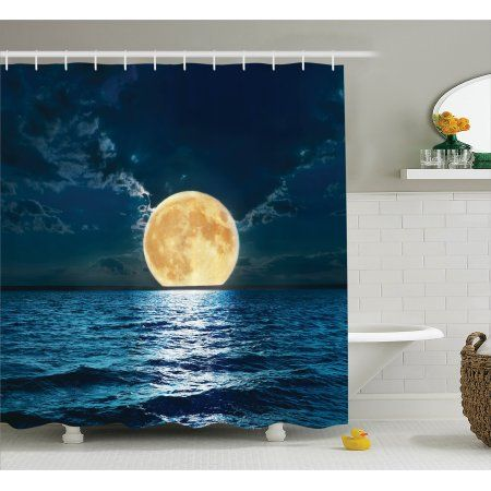 Nautical Shower Curtain Set, Magical Super Moon Over Ocean Surface Midnight View Dreamy Mystic Picture Print, Bathroom Decor, Yellow Navy, by Ambesonne - Walmart.com