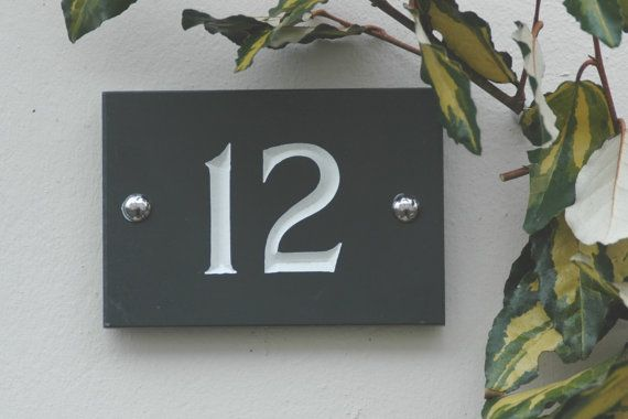 Hey, I found this really awesome Etsy listing at https://www.etsy.com/listing/189556555/slate-house-numbers-charcoal-grey