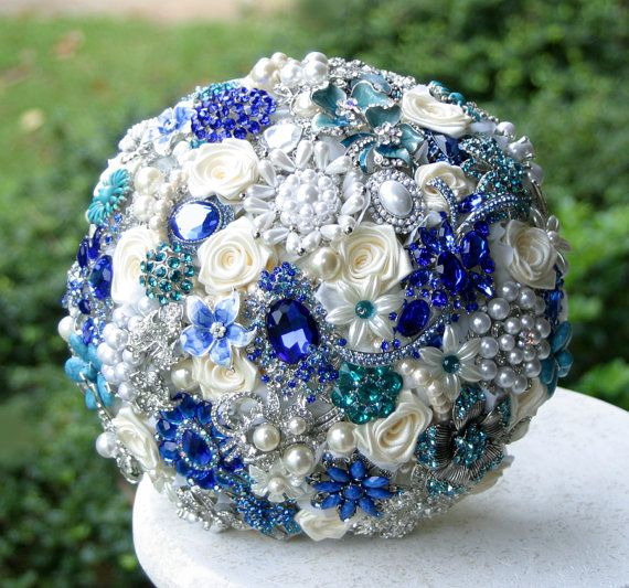 Teal and Royal Blue Wedding Brooch Bouquet. Deposit on a made to order Heirloom Broach Bouquet.