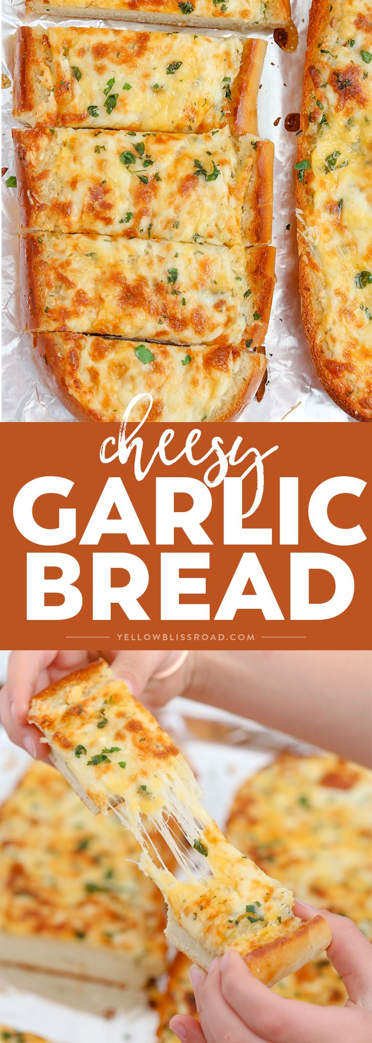 Turn plain french bread into cheesy, garlicky perfection with this epic Cheesy Garlic Bread with three kinds of cheese, herbs and tons of garlic. via @yellowblissroad