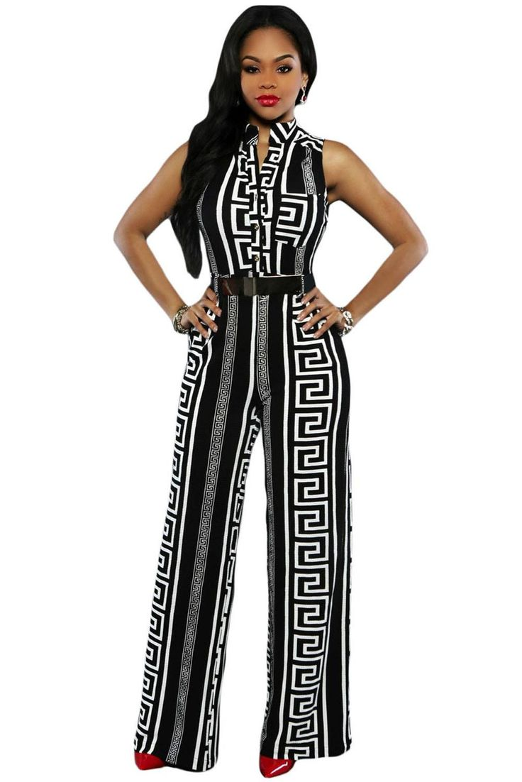 New Fashion Sexy Club Rompers Women Jumpsuit 2 Colors Print Gold Belted Jumpsuit LC64021