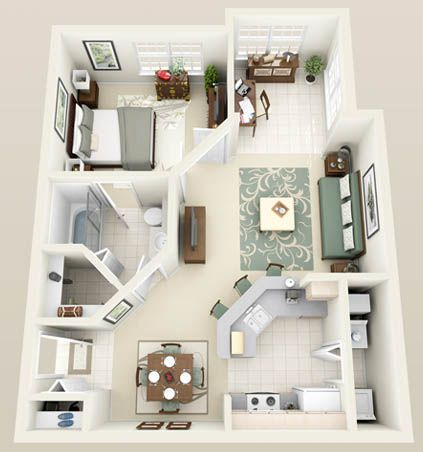 The Naples One Bedroom One Bath with Solarium 750 sq. ft.
