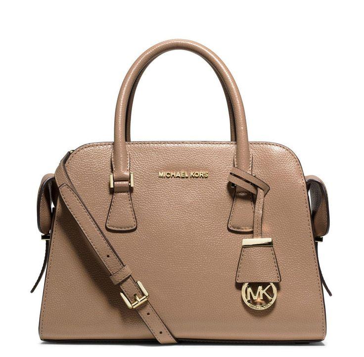 MK Michael Kors Medium Harper Khaki Pebbled Leather Satchel Bag New $358 # MichaelKors #Satchel