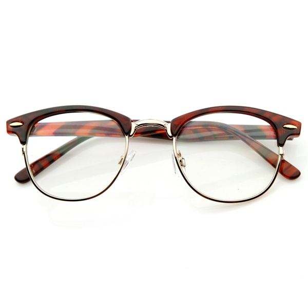 details about new original rx optical classical clear lens half frame clubmaster glasses 2946
