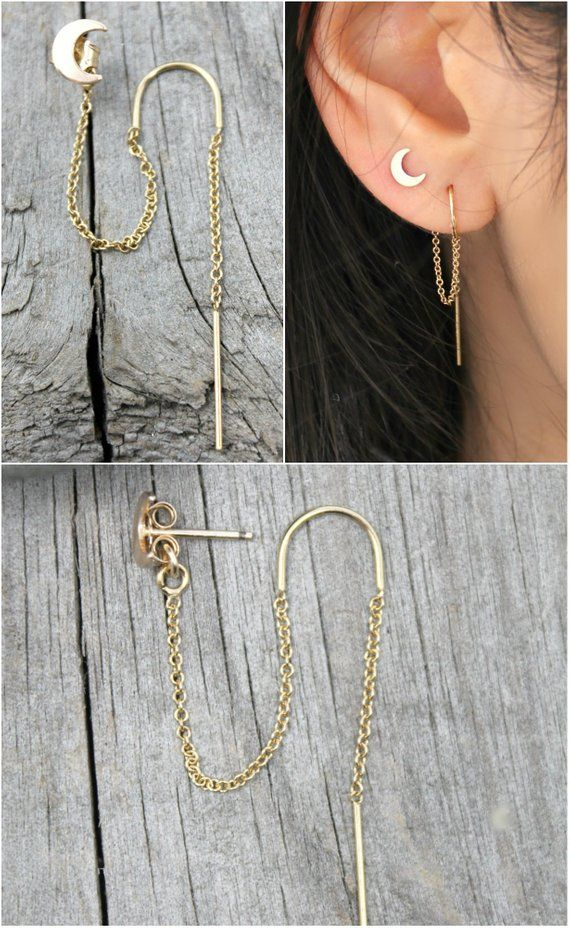 Crescent Moon Threader earrings, Celestial 14k gold filled threaded thread, double piercings combo, set of two (2) connected earrings