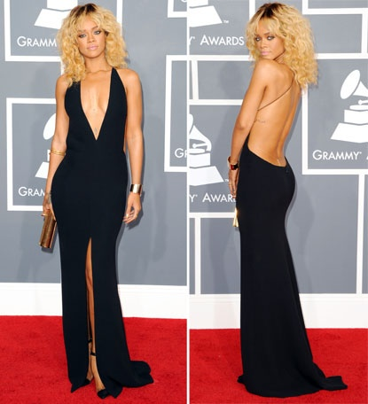 Very sexy but chic Giorgio Armani dress worn by Rihanna at the 2012 Grammy's