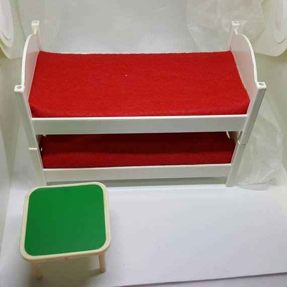 Hogarin Doll Furniture Modisa Spanish Bedroom Hard Plastic 1970 1 inch scale bunk beds #miniatures #toyfurniture