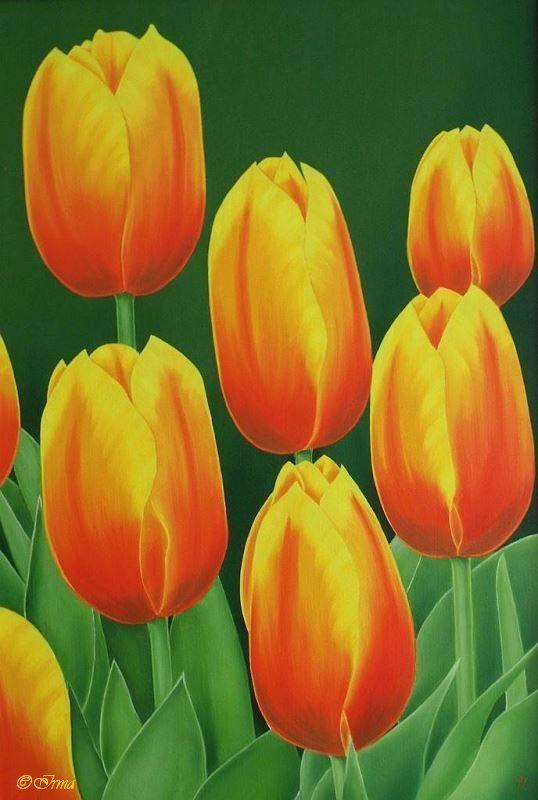 Irma Endrey: Orange tulips; oil on canvas