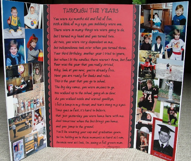 Graduation Poem/collage board. Poem written with Cricut