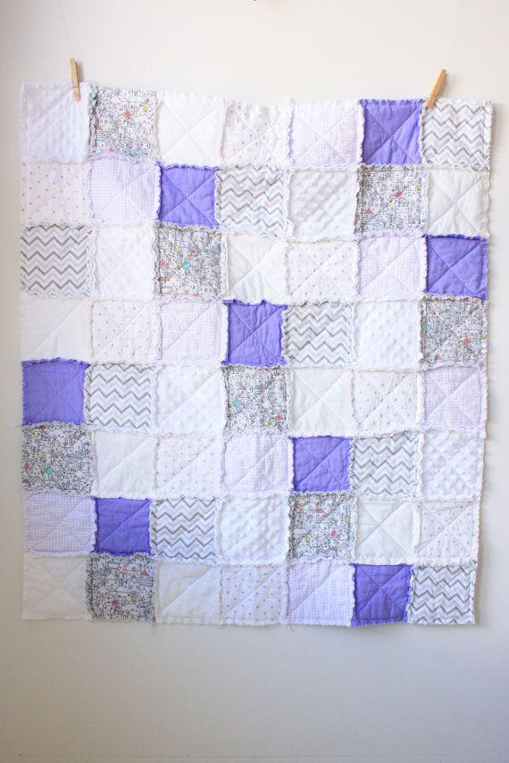 Lavender gray rag quilt by SunnyMarketCo