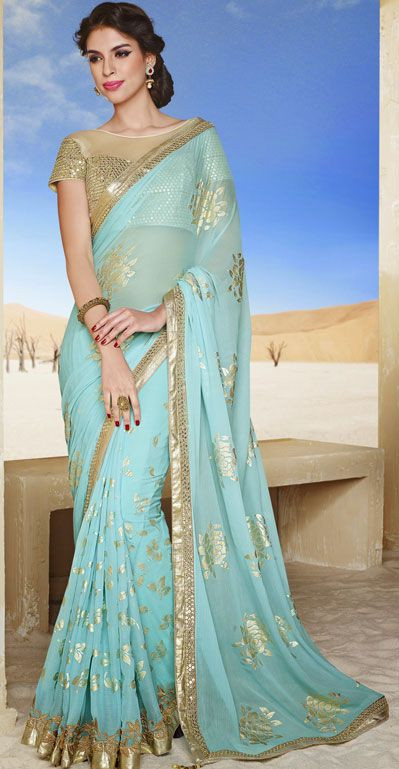 USD 55.63 Light Blue Chiffon Wedding Saree 43125