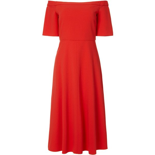 Tibi Structured Crepe Elbow Sleeve Dress (1,685 SAR) ❤ liked on Polyvore featuring dresses, red dress, off shoulder dress, elbow length sleeve dresses, red off shoulder dress and sleeved dresses