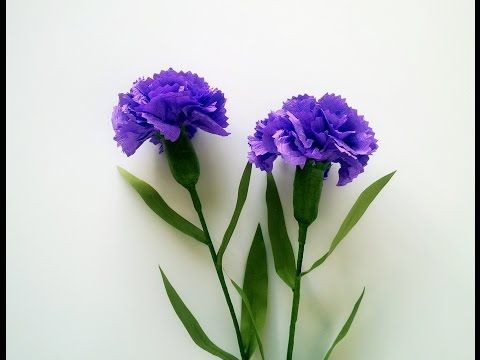 How To Make Carnation Flower From Crepe Paper - Craft Tutorial - YouTube