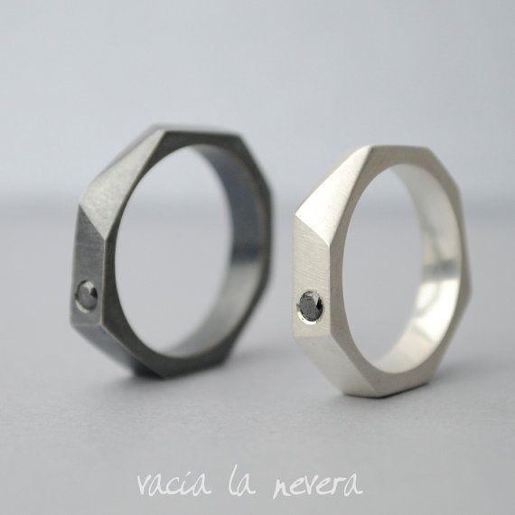 Alianzas de boda geométricas, diamante negro, anillos de compromiso y diamantes, plata oxidada.