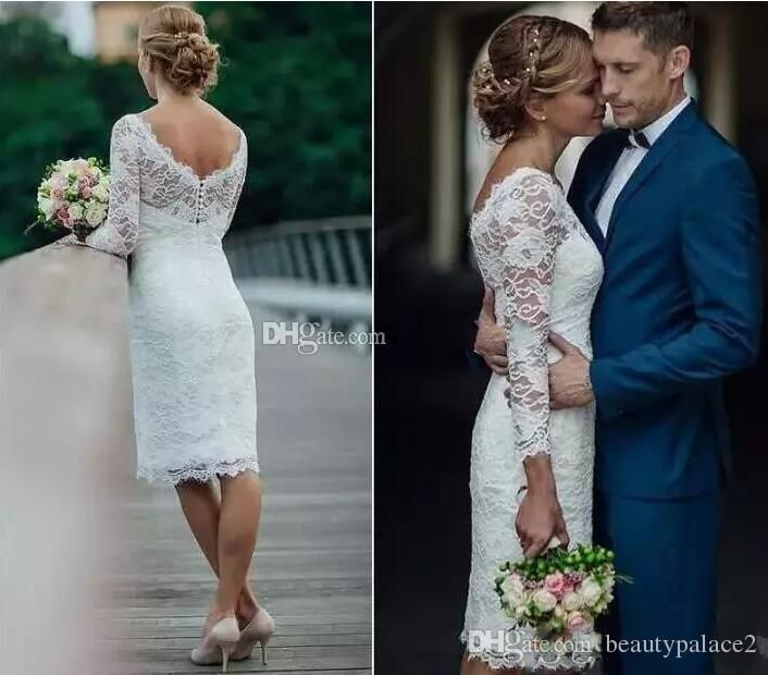 Charming Short Full Lace Wedding Dresses 2018 Long Sleeves Sheath Knee Length Coun Short Lace Wedding Dress Knee Length Wedding Dress Wedding Dress Long Sleeve