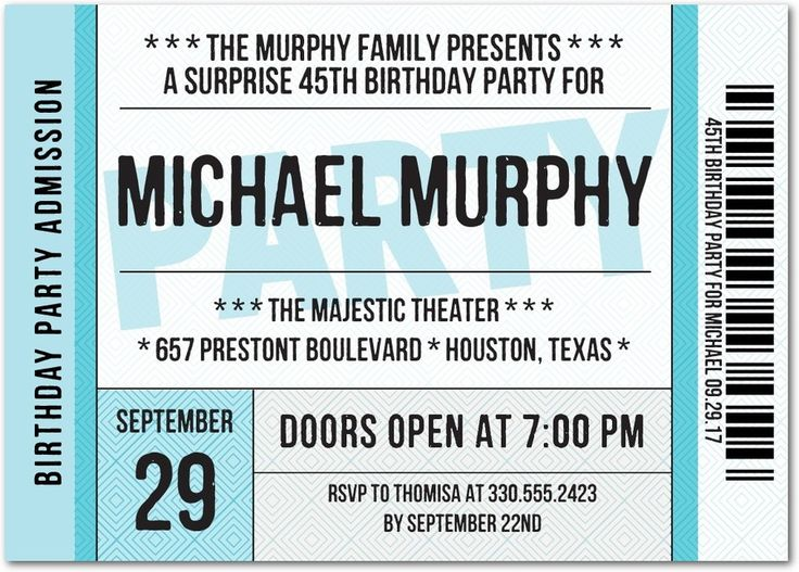 Premier Ticket - Adult Birthday Party Invitations in Paradise or Violet | Magnolia Press
