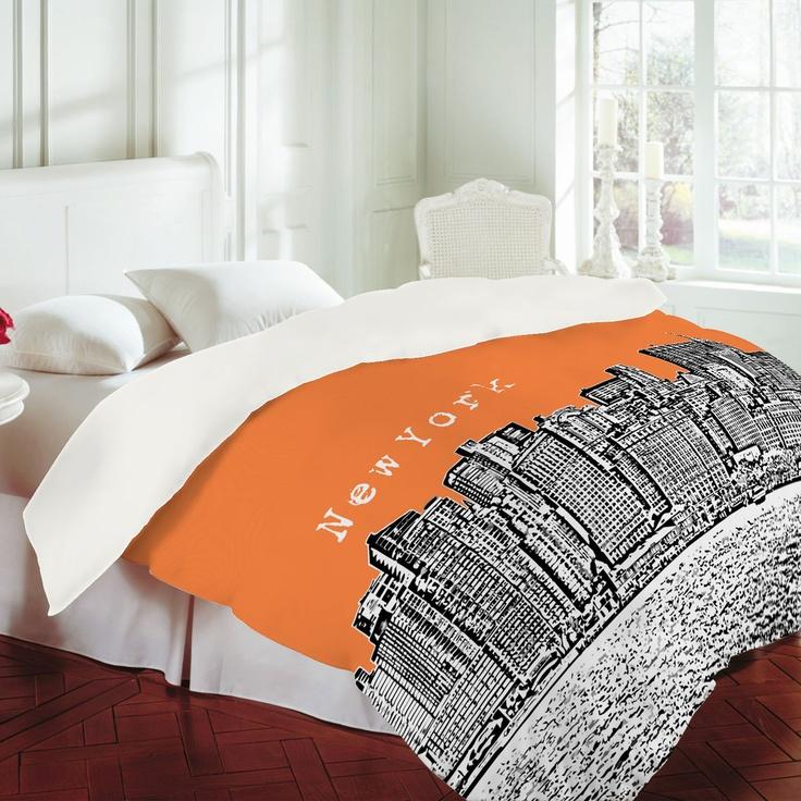 Bird Ave New York Orange Duvet Cover $189.00