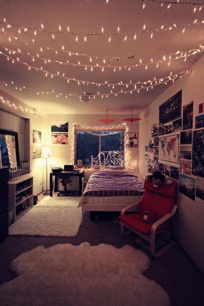 Lights on bed frame and hanging from the ceiling