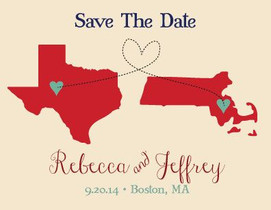 Save The Date State Themed Post Cards Long by FeatheredHeartPrints, $25.00