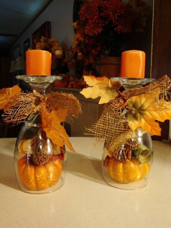 Fall Candle Holder Centerpiece using Wine Glasses...these are the BEST Homemade Fall Decorations