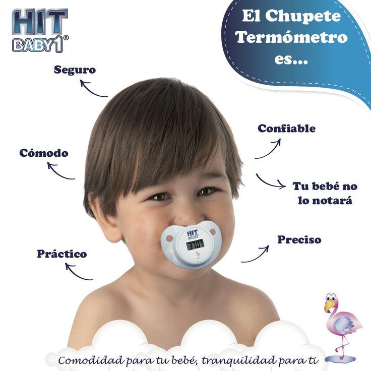 Termómetro en forma de Chupete / Pacifier Thermometer.  Tu bebé no notará el termómetro Confiable para papá, mamá y bebé El Chupete Termómetro  HIT BABY1® está especialmente diseñado para medir la temperatura del bebé en 1 minuto. #bebés #temperatura #fiebre #chupón #salud #termómetro http://bloghitbabyone.com/2015/03/05/cualidades-del-chupete-termometro/