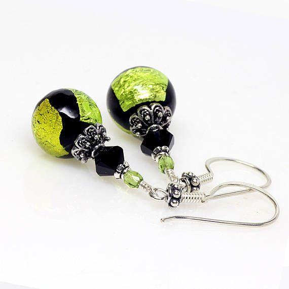 Green Black Venetian Murano Glass Earrings Peridot Lime