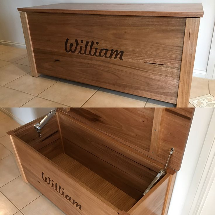 Toy chest made from solid hardwood timber with soft close lid