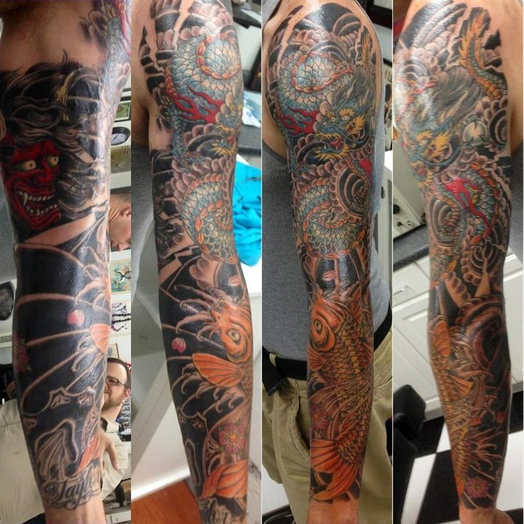 Koi dragon sleeve by fish whole addiction tattoo coral for Coral springs tattoo